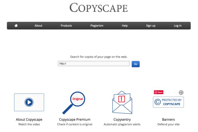 cara menghindari plagiarisme - tampilan homepage copyscape