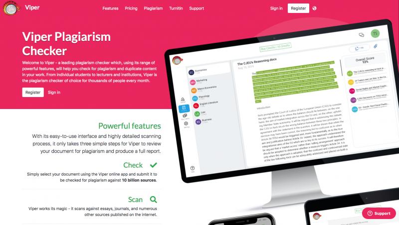cara menghindari plagiarisme - tampilan homepage viper plagiarism checker