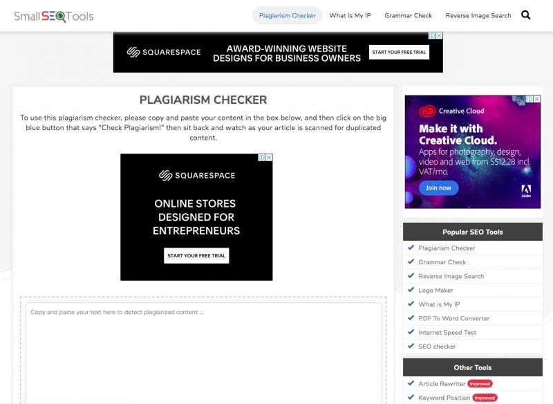 tampilan plagiarism checker dari small seo tools