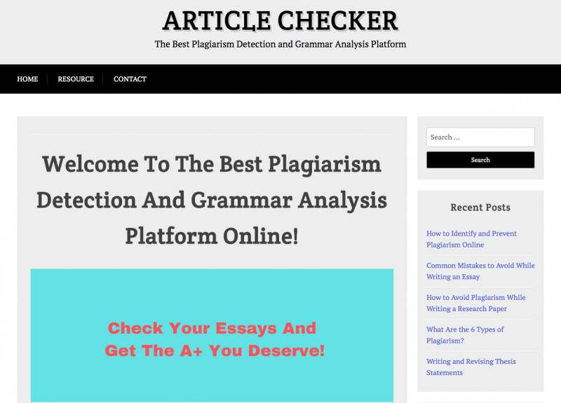 tampilan homepage dari article checker