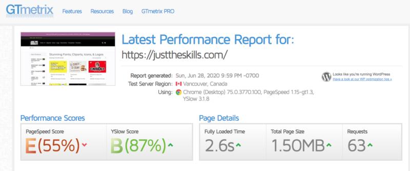 contoh hasil uji kecepatan website