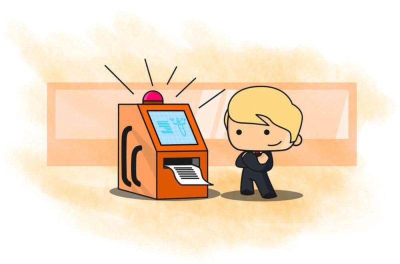 Seorang pria menggunakan tuxedo dengan dasi berwarna meerah sedang berdiri di depan mesin cetak