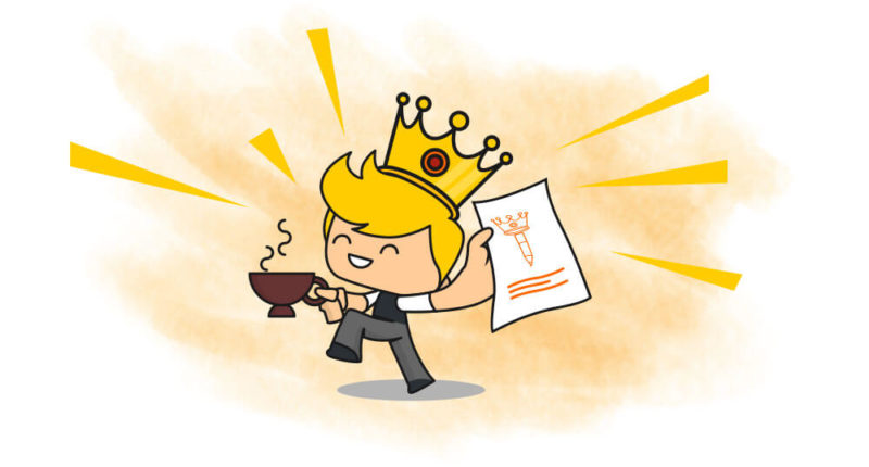 Gambar ilustrasi seorang pria sedang memegang cangkir dan selembar kertas, mengenakan mahkota