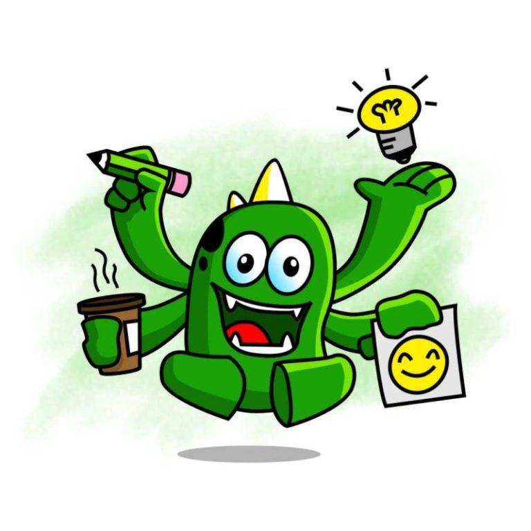 ilustrasi jasa desain grafis kontenesia, monster berwarna hijau memiliki tanduk berwarna kuning, memiliki 4 tangan yang sedang memegang gelas, pensil, lampu dan kertas