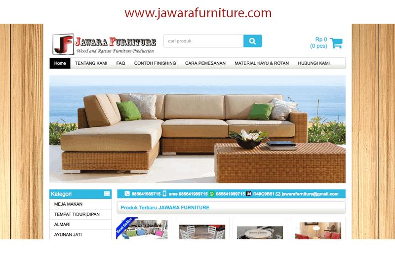 tampilan website jawarafurniture.com