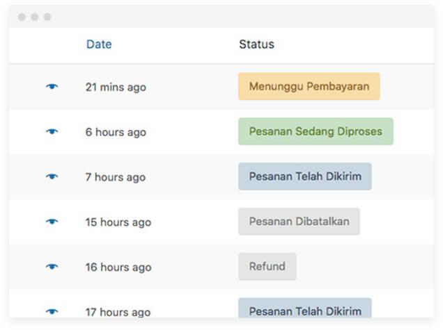 tampilan status orderan dari wordpress