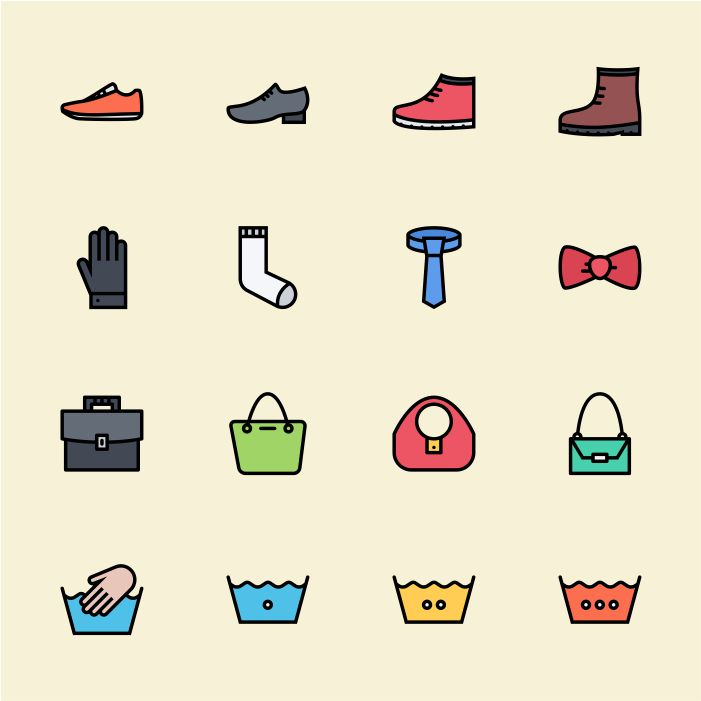 salah satu protofolio jasa desain grafis kontenesia, gambar icon sepatu, sarung tangan, kaus kaki, dasi, tas, mencuci tangan