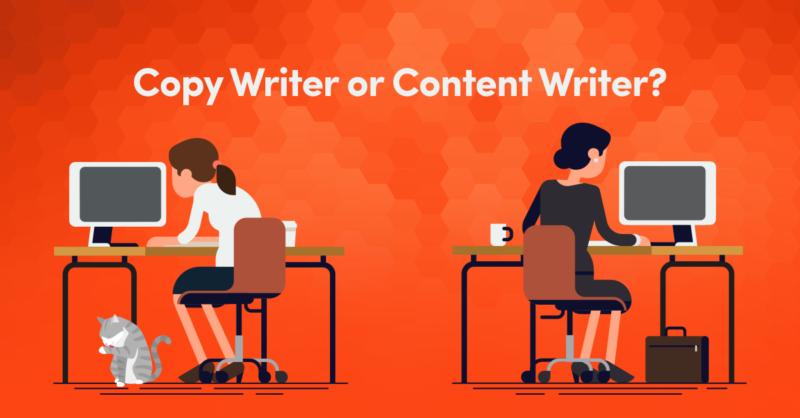 gambar ilustrasi perbedaan copy writer dengan content writer yang sedang bekerja menggunakan komputer, kucing putih abu, tas berwarna coklat, dengan latar gambar warna jingga dengan aksen hexagonal