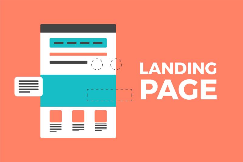 Gambar ilustrasi landing page sebuah website dengan latar berwarna jingga