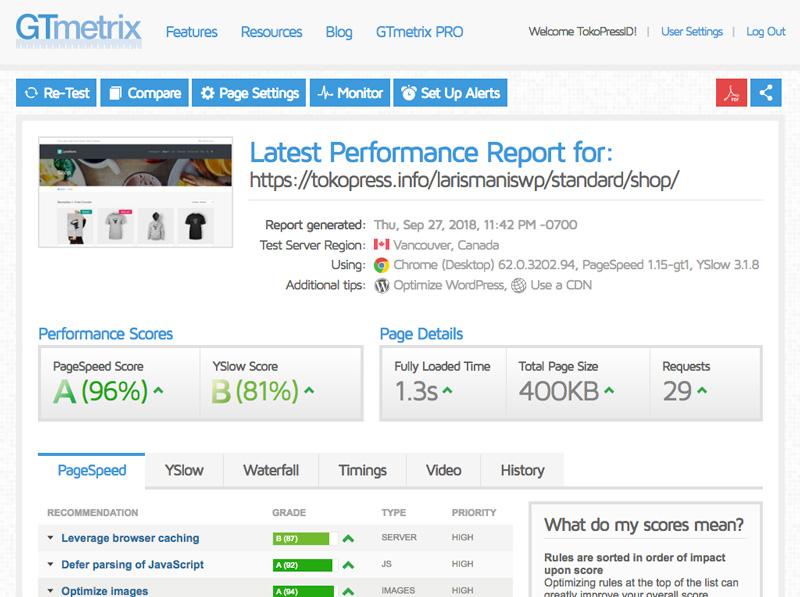 Kecepatan website dapat di ukur dengan Gtmetrix