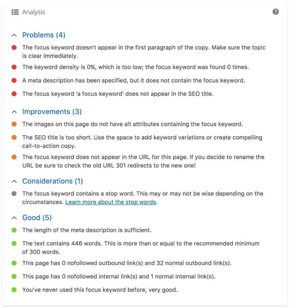 Analisa konten dengan Yoast worpress seo plugin