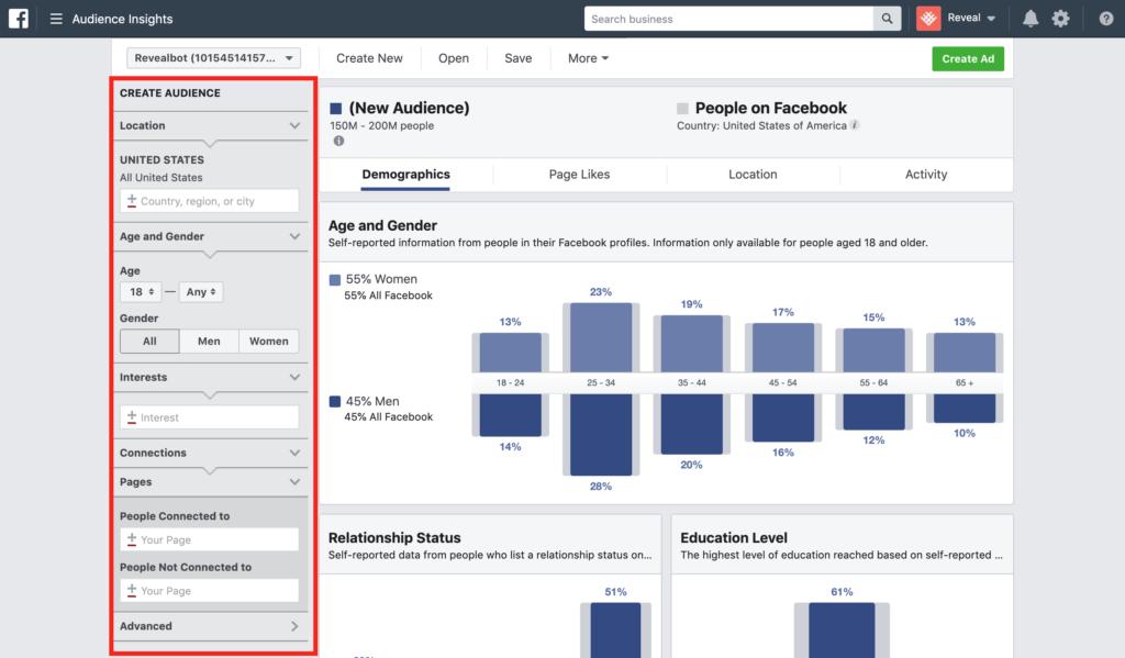 tampilan tools audience insight facebook