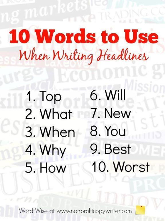 teknik copywriting - 10 kata untuk headline