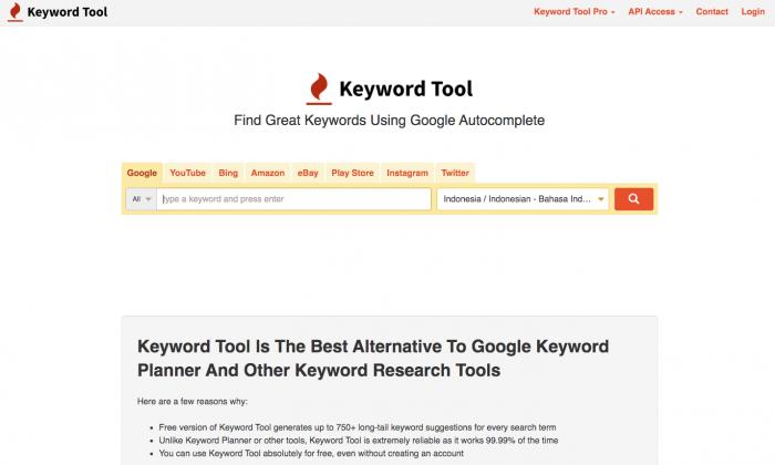 homepage keywordtool.io