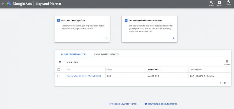 seo toko online - tampilan google keyword planner